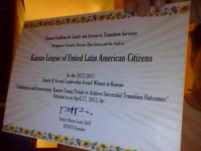 KCEATS certificate awarded to Elias Garcia and Kansas LULAC in May 2013 - New Design by Mantra Designs